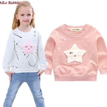 AiLe Rabbit Baby Girl's Banner Star Long-Sleeve Blouse