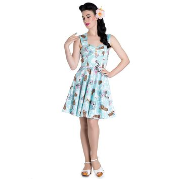 Hell Bunny Tropical Rockabilly Day Of The Dead Tiki Beach Party Mini Dress