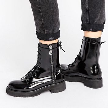 Mango Lace Up Worker Boot at asos.com