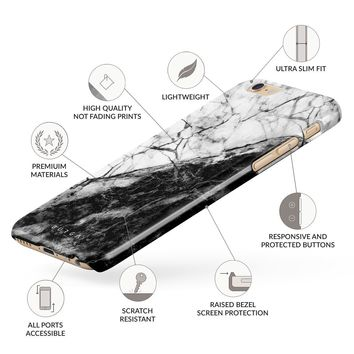 BURGA iPhone 6 / 6s Case, Fatal Contradiction Black And White Marble Yin And Yang Thin Design Durable Hard Shell Plastic Protective Case For Apple iPhone 6 / 6s