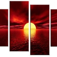 Wieco Art - Red Sea Modern 4 Panels Large Stretched and Framed Giclee Canvas Prints Seascape Beach Pictures Paintings on Canvas Wall Art Ready to Hang for Living Room Bedroom Home Decorations