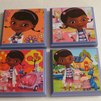 Disney Doc Mcstuffins Room Wall Plaques - Set of 4 Doc Mcstuffins Girls Room Decor - Doc Mcstuffins Wall Signs