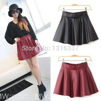 WOMEN HIGH WAISTED FAUX LEATHER SOFT PU SKATER GRUNGE FLIPPY PLEATED SWING SKIRT GL