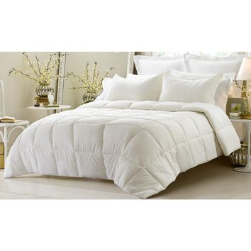 3PC REVERSIBLE SOLID/ EMBOSS STRIPED COMFORTER SET- OVERSIZED AND OVERFILLED ( 2 BEDDING LOOKS IN 1) - IVORY