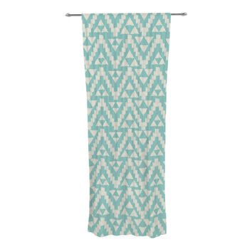 "Amanda Lane ""Geo Tribal Turquoise Sky"" Teal Aztec Decorative Sheer Curtain"