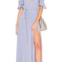 Paulina Lavender Slit Maxi Dress
