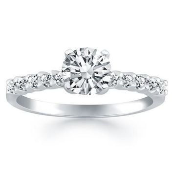 14K White Gold Shared Prong Diamond Band Accent Engagement Ring, size 6