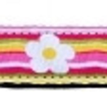Striped Daisy Ribbon Dog Collars 1 wide 4ft Leash