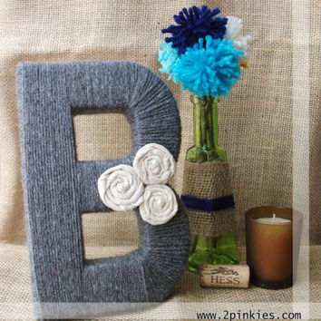 Yarn Letter - 8 inches tall, wedding table decor, table decoration centerpiece, stand attached