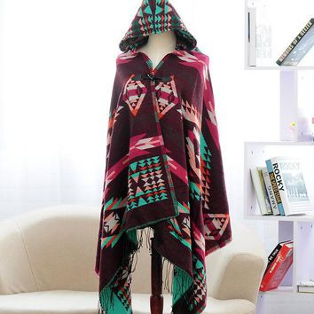 Women's Boho Aztec Tribal Winter Warm Cardigan Wrap Hooded Scarf Shawl Cape