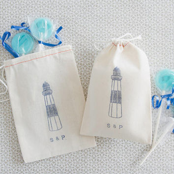 Personalized 10 Lighthouse Wedding Favor Bags - Perfect for Destination Weddings