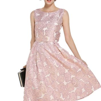 GORB 2018 Newest Fashion Pink Embroidery Dresses High Quality Jacquard Womens Sleeveless Slim Big Swing Dress Vestidos Femme