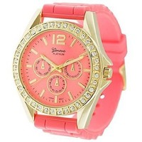 Geneva Platinum 7846 Women's Decorative Chronograph Rhinestone-accented Silicone Watch-CORAL/GLD