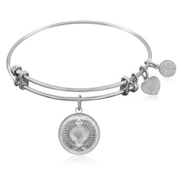 Expandable Bangle in White Tone Brass with Laurel Wreath Peace Victory Symbol