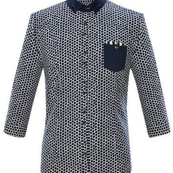 Color Spliced Polka Dot Print Button-Down Shirt