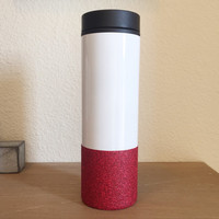 Ready To Ship Red Glitter Dipped, Custom Design, Stainless Steel To-Go Coffee Tumbler