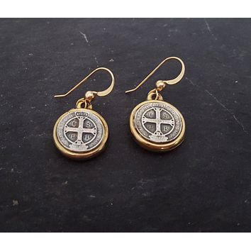 silver-and-gold-st-benedict-coin-earrings-saint-benito-14k-gold-filled-coin-jewelry-coin-earrings-saint-benedict-religious-jewelry