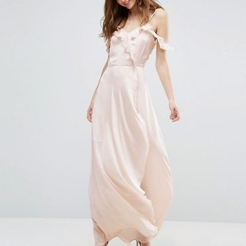 Vero Moda Tall Cold Shoulder Frill Front Maxi Dress at asos.com