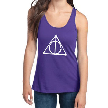 Harry Potter Inspired Clothing - Deathly Hallows Symbol Semi-Fitted Racerback Tank - Ladies