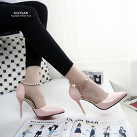 Pointed Pink Pearl High Heel Shoe