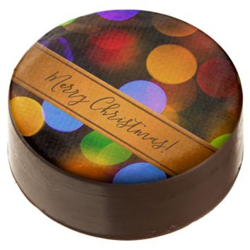 Multicolored Christmas lights. Add text or name. Chocolate Dipped Oreo