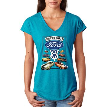Ladies Ford Mustang T-shirt V8 Collection Triblend V-Neck