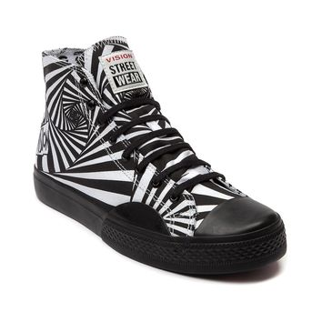 Mens Vision Street Wear Canvas Hi Skate Shoe, White Black | Journeys Shoes