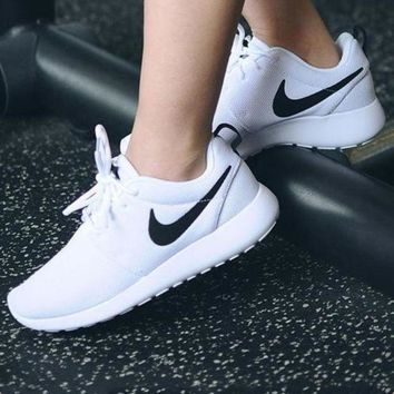 Nike Roshe Run Women Men Casual Sneakers Sport Running Shoes White Soles