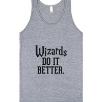 Wizards do it better-Unisex Athletic Grey Tank