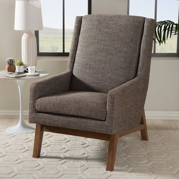 Baxton Studio Aberdeen Mid-Century Modern Walnut Wood Finishing and Gravel Fabric Upholstered Lounge Chair Set of 1