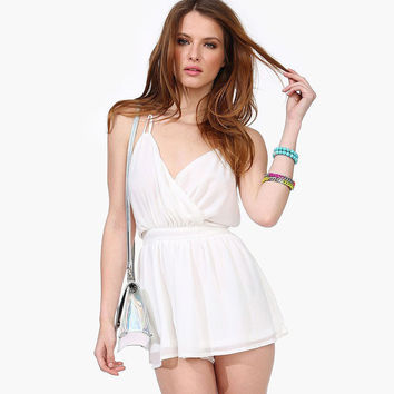 White Wrap Flounce Strappy Cross Back Chiffon Romper