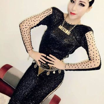 PEAPUNT Sexy NEW Black Sequins Long Sleeves Jumpsuit Rhinestone Outfit For Women Female Singer DJ Dance Costume Party Performance Dress