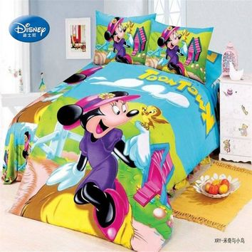 Mickey Minnie Mouse Duvet Cover Set Single Twin Bedlinen Girl Boy Bedding Set Cartoon Donald Duck Kid Disney Pillow Cover