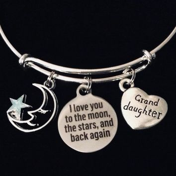Granddaughter I Love You to the Moon Adjustable Charm Bracelet Expandable Silver Wire Bangle Gift Trendy Stackable