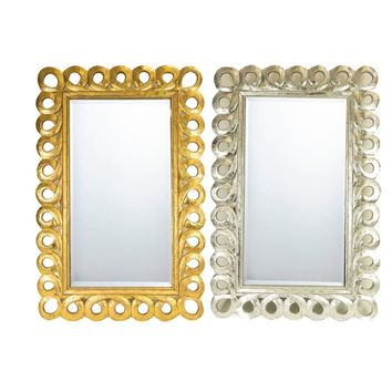 2 Assortments Of Chicly Designed Wooden Carved Mirror, Gold And Silver