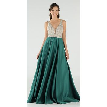 Emerald Green Beaded Bodice V-Neck Long Prom Dress with Pockets