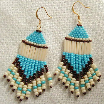 Turquoise Brown & Bone Native American Beadwork Earrings~Fringe Earrings~Dangle Earrings~Boho EarringsHippie EarringsNativeBeadwork Earrings