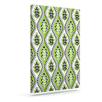 "Jacqueline Milton ""Oak Leaf - Lime"" Green Floral Outdoor Canvas Wall Art"