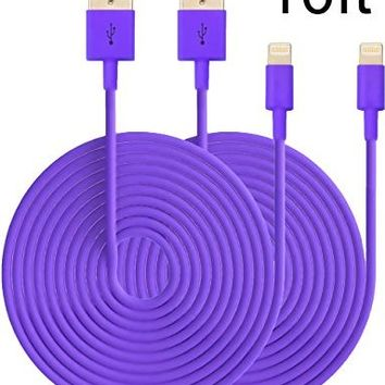 Nocobot (TM) 2PCs 10ft Extended Extra Long 8 Pin to USB Sync and Charging Cable Charger Power Cord for iPhone 6/ 6 Plus, iPhone 5/ 5s/ 5c, iPod Touch 5th, Nano 7th, and iPad 4 Air Mini-Compatible with IOS 8 (Rose)