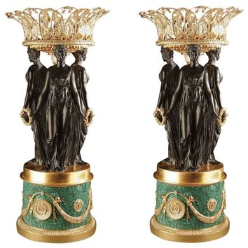 Malachite Gilt Bronze Jardinieres Centerpieces Urns Style of Pierre P. Thomire