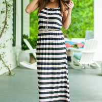 To Line Own Self Be True Maxi Dress, Black-Taupe