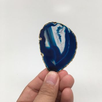 84 cts Blue Agate Druzy Slice Geode Pendant Gold Plated From Brazil, Bp983