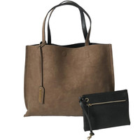 Two In One Reversible Tote Handbag In Brown & Black