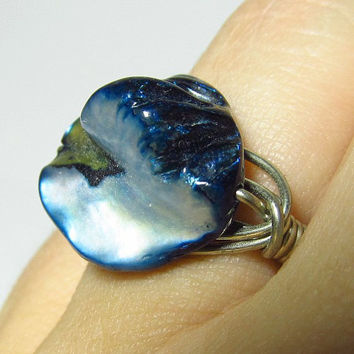 Wire Wrapped Blue Mother of Pearl Ring Baroque Bead by EbonFlow