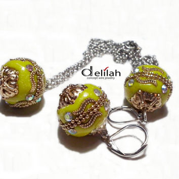 Yellow Indonesian Beads Earrings and Necklace Indonesian Beads Jewelry Set Indonesian Beads Earrings Mustard Yellow Earrings Yellow Pendant