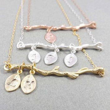 Personalized Necklace  Branch Necklace Pendant Necklace   Silver Gold Rose Gold  Family Tree Necklace