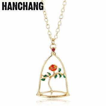Movie Beauty Beast Necklace Forever Red Rose Color Flower Hollow-out Pendant Necklace For Women Girl Rose Gold Color Jewelry