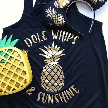 Dole Whips and Sunshine Flowy Racerback Tank, Black with Gold