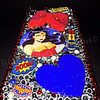 Wonder Woman cell phone case, wonder woman bling, iphone 6, iphone 6+, samsung phone case, galaxy phone case, ransdell's rhinestones