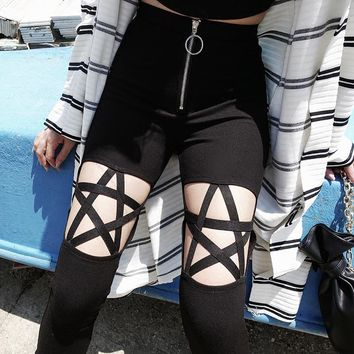 New Fashion Punk Gothic Women Pant Leggings Hollow Out Five-Pointed Star